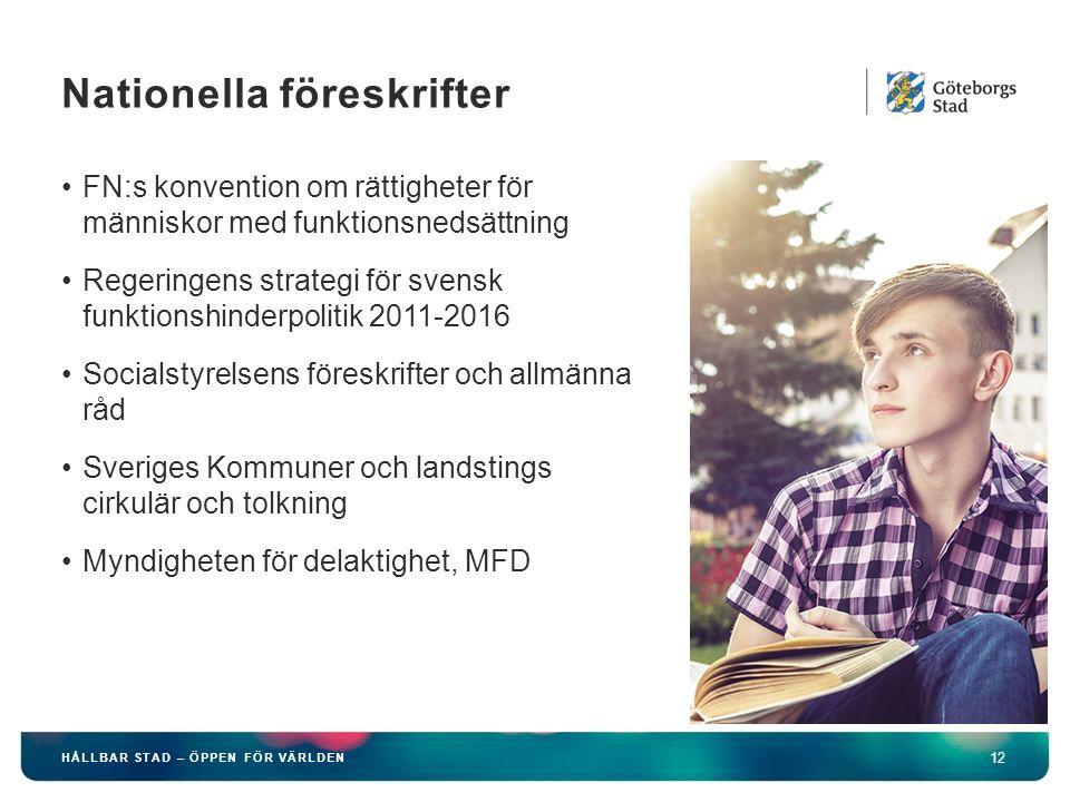 HÅLLBAR STAD – ÖPPEN FÖR VÄRLDEN 12 FN:s konvention om rättigheter för människor med funktionsnedsättning Regeringens strategi för svensk funktionshin