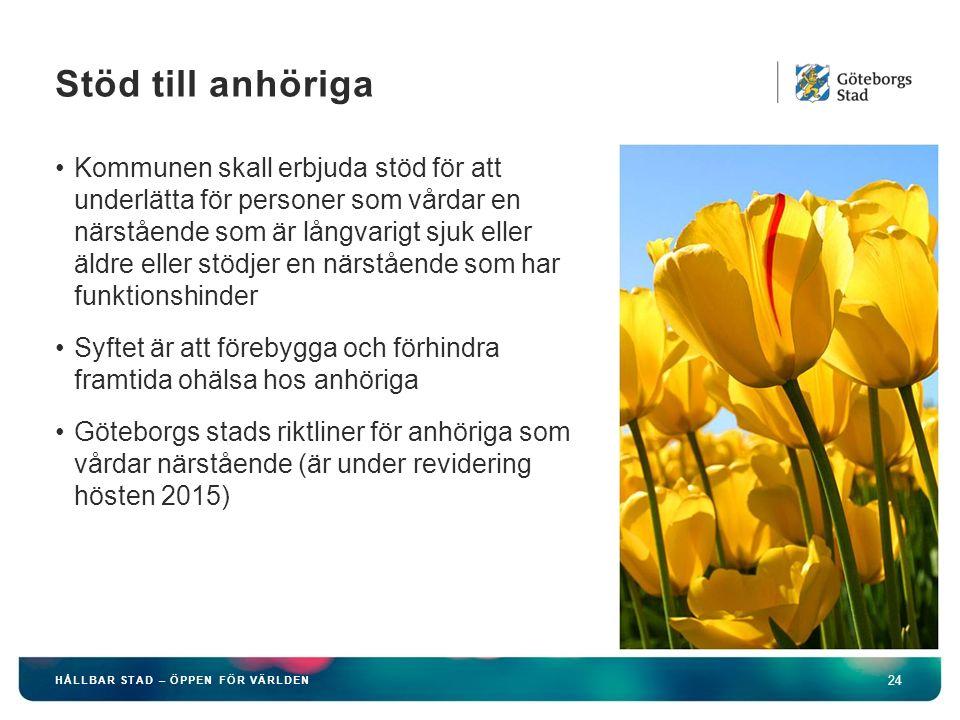 HÅLLBAR STAD – ÖPPEN FÖR VÄRLDEN 24 Kommunen skall erbjuda stöd för att underlätta för personer som vårdar en närstående som är långvarigt sjuk eller äldre eller stödjer en närstående som har funktionshinder Syftet är att förebygga och förhindra framtida ohälsa hos anhöriga Göteborgs stads riktliner för anhöriga som vårdar närstående (är under revidering hösten 2015) Stöd till anhöriga