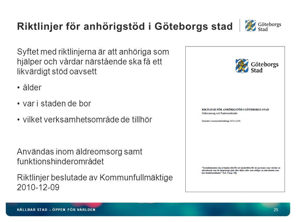 HÅLLBAR STAD – ÖPPEN FÖR VÄRLDEN 25 Syftet med riktlinjerna är att anhöriga som hjälper och vårdar närstående ska få ett likvärdigt stöd oavsett ålder var i staden de bor vilket verksamhetsområde de tillhör Användas inom äldreomsorg samt funktionshinderområdet Riktlinjer beslutade av Kommunfullmäktige 2010-12-09 Riktlinjer för anhörigstöd i Göteborgs stad