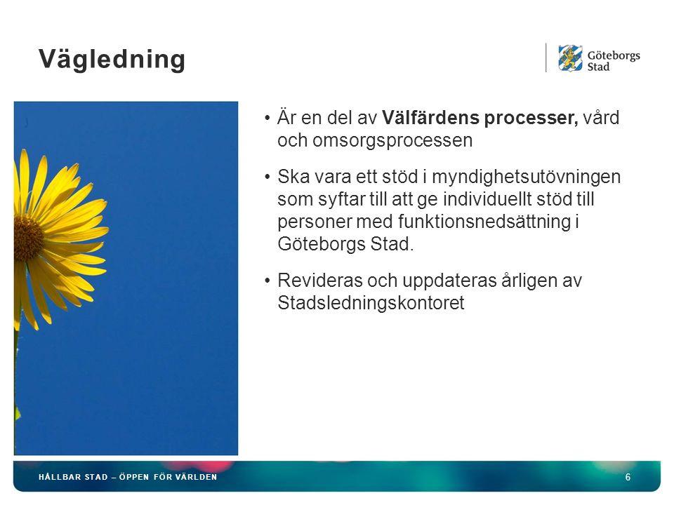 HÅLLBAR STAD – ÖPPEN FÖR VÄRLDEN 6 Är en del av Välfärdens processer, vård och omsorgsprocessen Ska vara ett stöd i myndighetsutövningen som syftar till att ge individuellt stöd till personer med funktionsnedsättning i Göteborgs Stad.