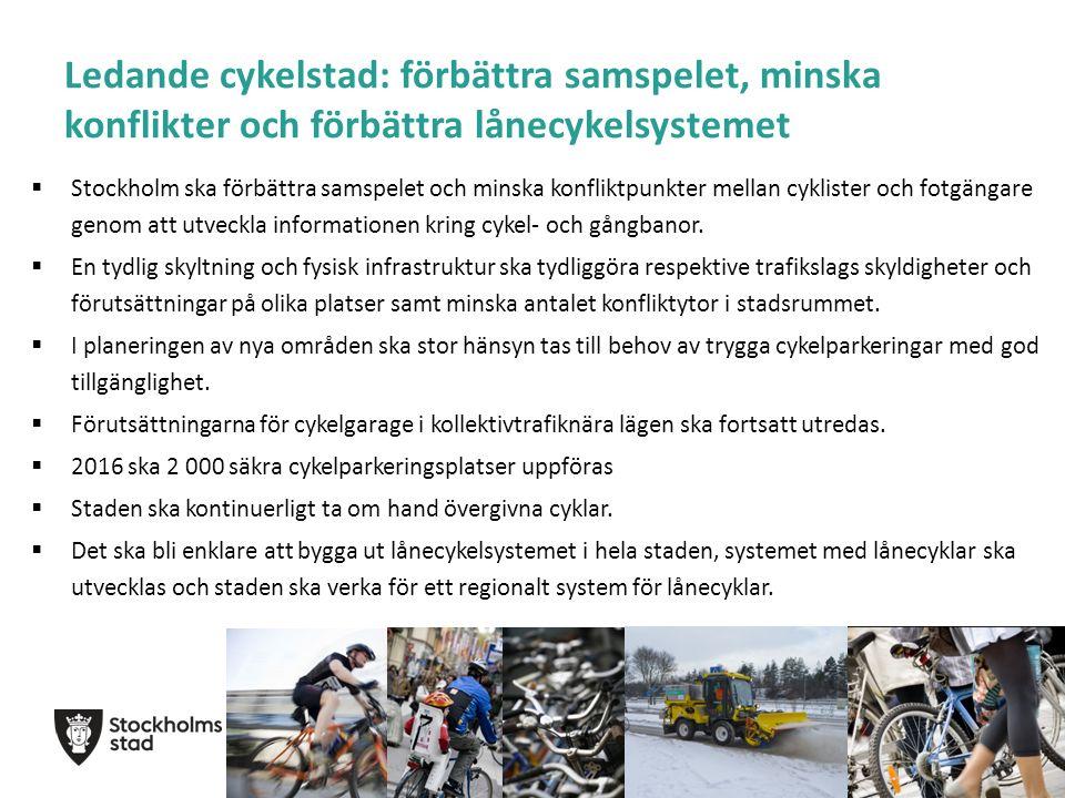 Ledande cykelstad: förbättra samspelet, minska konflikter och förbättra lånecykelsystemet  Stockholm ska förbättra samspelet och minska konfliktpunkter mellan cyklister och fotgängare genom att utveckla informationen kring cykel- och gångbanor.