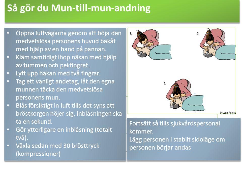 Så gör du Mun-till-mun-andning Öppna luftvägarna genom att böja den medvetslösa personens huvud bakåt med hjälp av en hand på pannan. Kläm samtidigt i