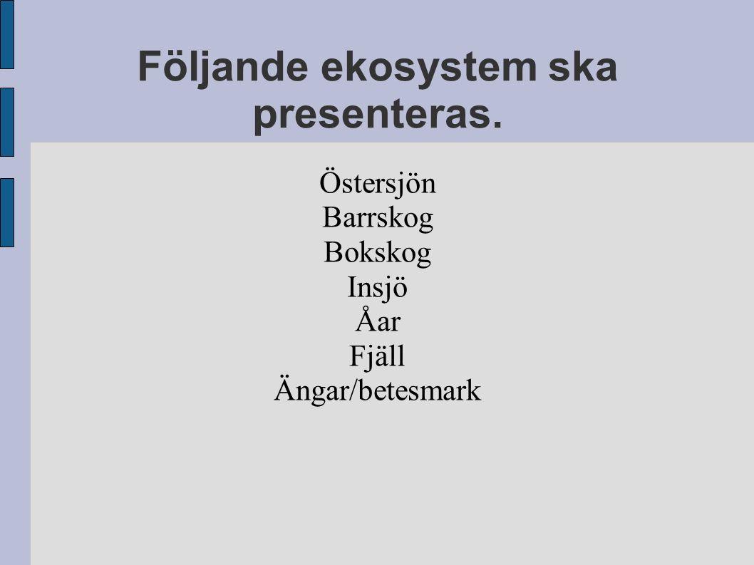 Följande ekosystem ska presenteras. Östersjön Barrskog Bokskog Insjö Åar Fjäll Ängar/betesmark