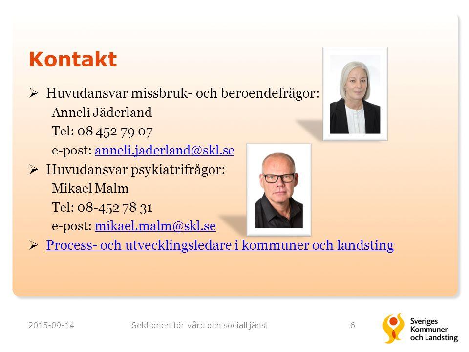 Kontakt  Huvudansvar missbruk- och beroendefrågor: Anneli Jäderland Tel: 08 452 79 07 e-post: anneli.jaderland@skl.seanneli.jaderland@skl.se  Huvuda