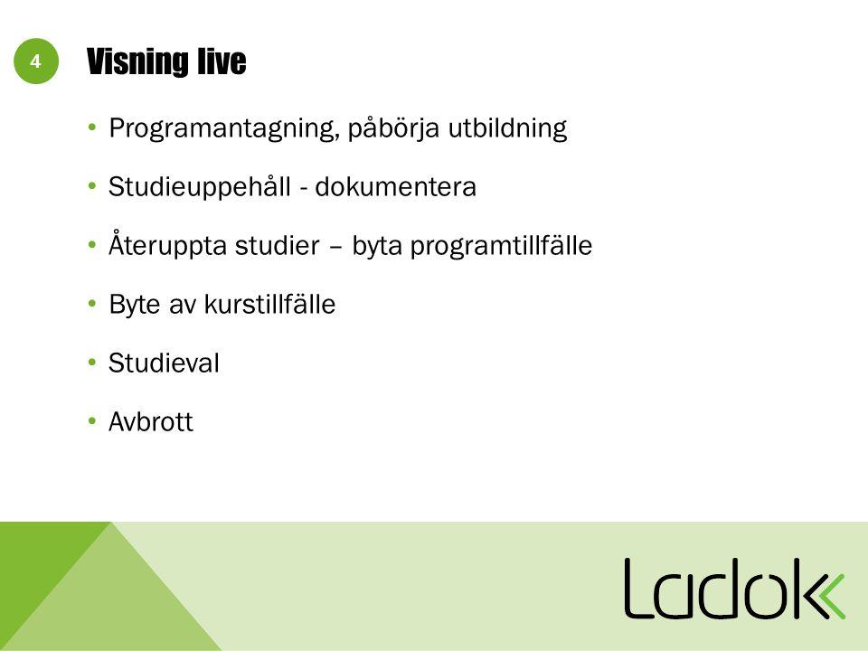 4 Visning live Programantagning, påbörja utbildning Studieuppehåll - dokumentera Återuppta studier – byta programtillfälle Byte av kurstillfälle Studieval Avbrott