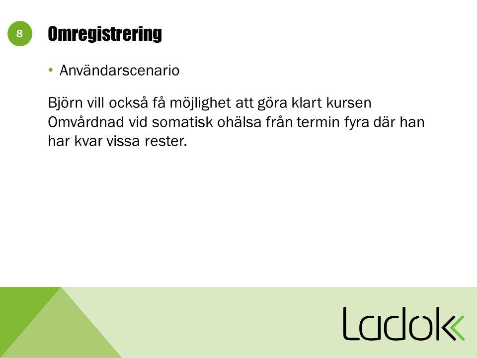 8 Omregistrering Användarscenario Björn vill också få möjlighet att göra klart kursen Omvårdnad vid somatisk ohälsa från termin fyra där han har kvar vissa rester.