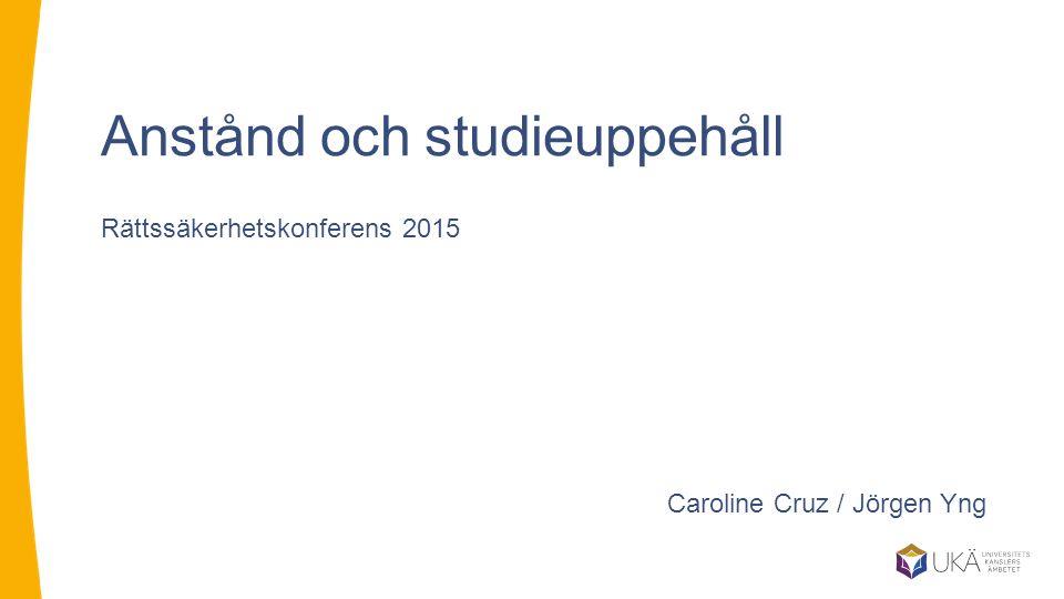 Anstånd och studieuppehåll Rättssäkerhetskonferens 2015 Caroline Cruz / Jörgen Yng