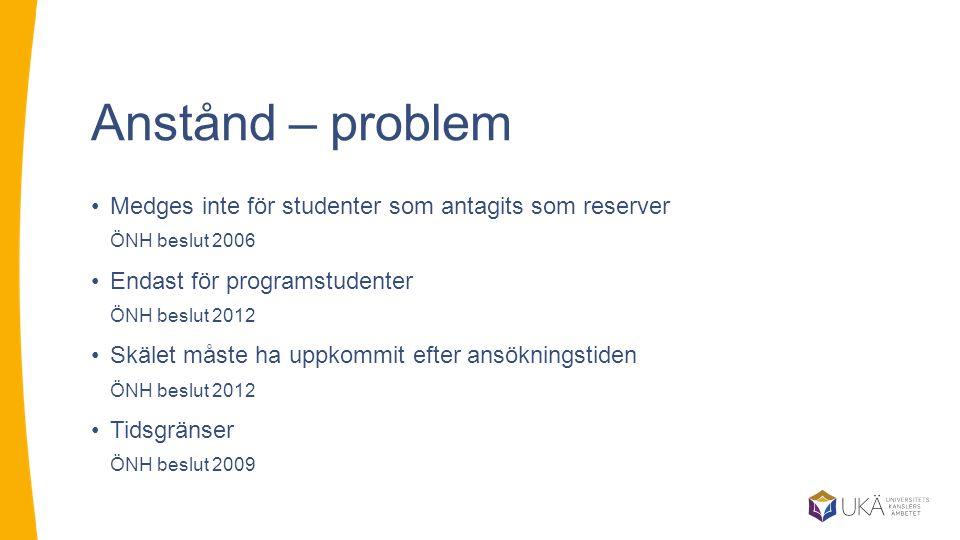 Anstånd – problem Medges inte för studenter som antagits som reserver ÖNH beslut 2006 Endast för programstudenter ÖNH beslut 2012 Skälet måste ha uppkommit efter ansökningstiden ÖNH beslut 2012 Tidsgränser ÖNH beslut 2009