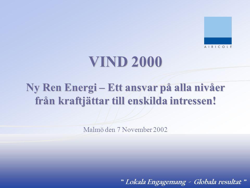 Lokala Engagemang - Globala resultat Bakgrund 1992 -Agenda 21 – Rio De Janeiro 1996 - EDF initierar Mission ENR (Miljöstrategi) 1997 – EDF beslutar att bygga 1 500 MW förnyelsebar energi globalt före 2005 som målsättning 1998 - SIIF Energies åläggs att realisera målsättningen 2001 - EDF och SIIF initierar strategi om havsbaserad vindkraft och lägger detta kompetenscenter i Sverige med AIRICOLE AB som bas
