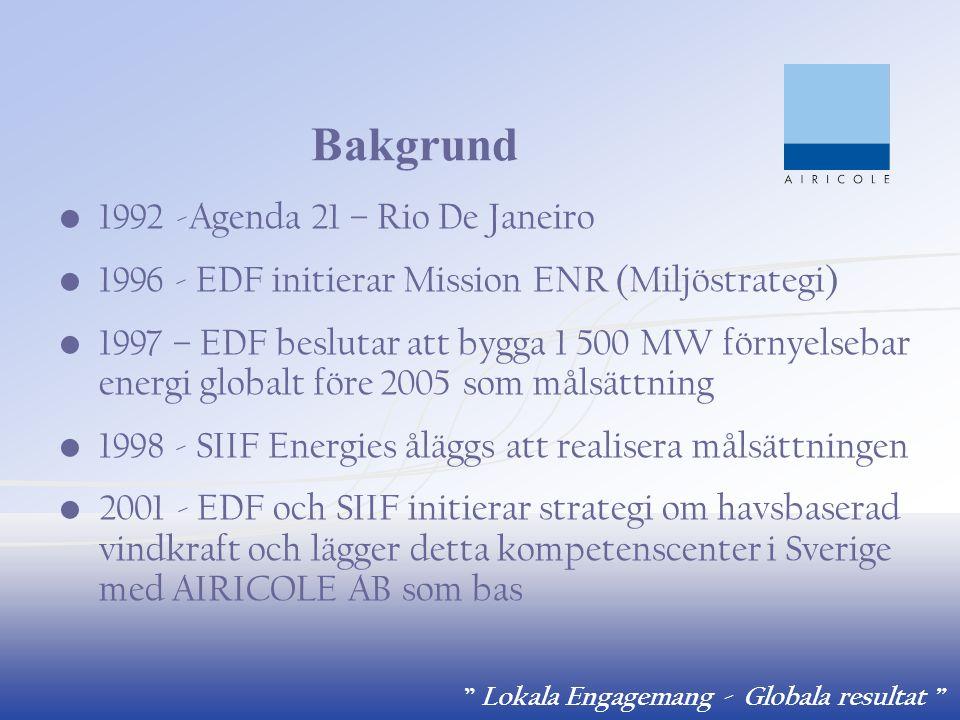 """"""" Lokala Engagemang - Globala resultat """" Bakgrund 1992 -Agenda 21 – Rio De Janeiro 1996 - EDF initierar Mission ENR (Miljöstrategi) 1997 – EDF besluta"""