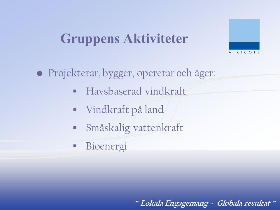 """"""" Lokala Engagemang - Globala resultat """" Gruppens Aktiviteter Projekterar, bygger, opererar och äger:  Havsbaserad vindkraft  Vindkraft på land  Sm"""