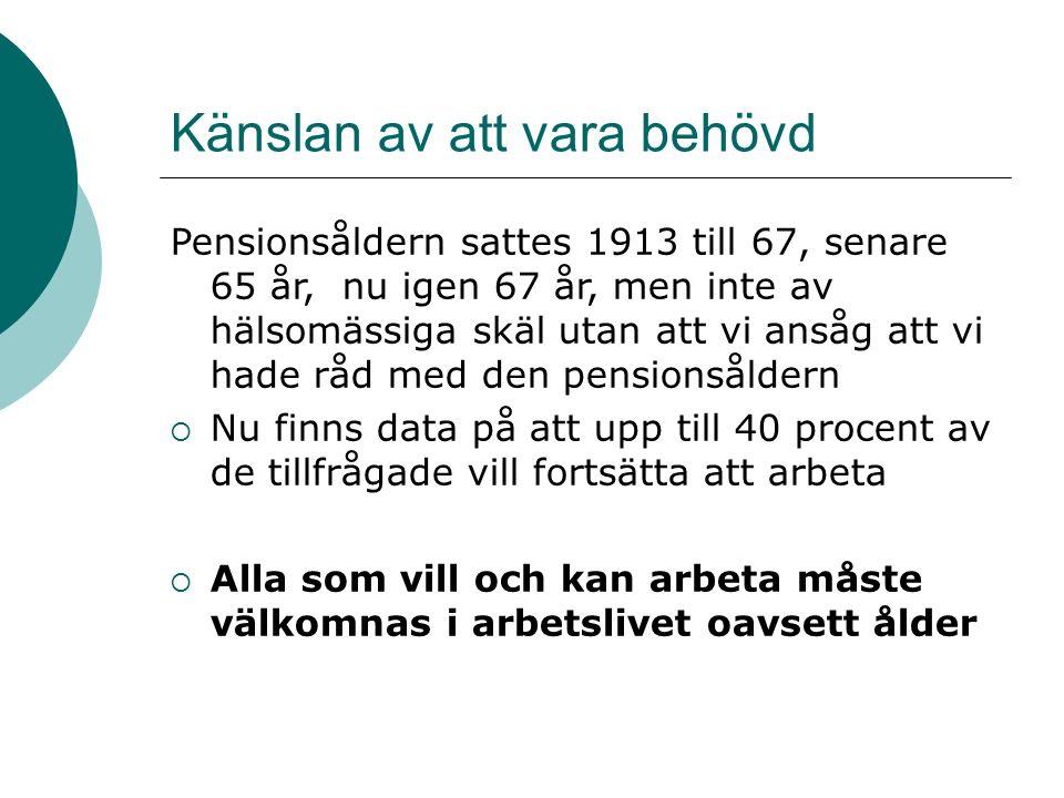 Pensionsåldern sattes 1913 till 67, senare 65 år, nu igen 67 år, men inte av hälsomässiga skäl utan att vi ansåg att vi hade råd med den pensionsåldern  Nu finns data på att upp till 40 procent av de tillfrågade vill fortsätta att arbeta  Alla som vill och kan arbeta måste välkomnas i arbetslivet oavsett ålder