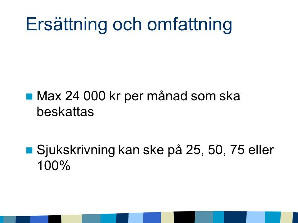 Ersättning och omfattning Max 24 000 kr per månad som ska beskattas Sjukskrivning kan ske på 25, 50, 75 eller 100%
