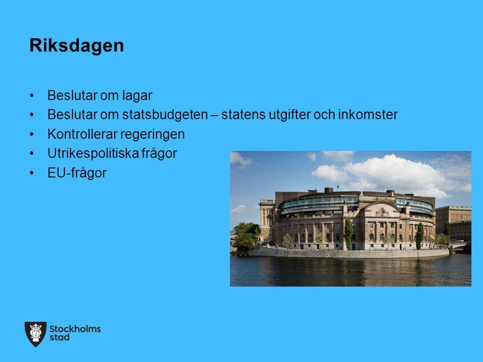 Riksdagen Beslutar om lagar Beslutar om statsbudgeten – statens utgifter och inkomster Kontrollerar regeringen Utrikespolitiska frågor EU-frågor