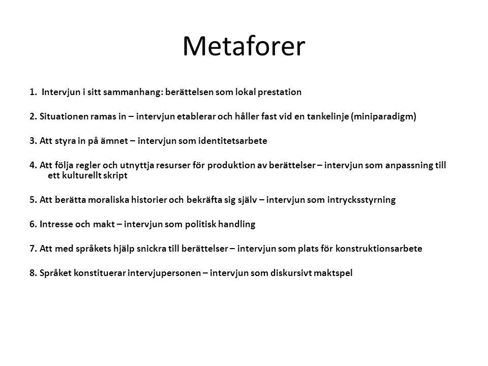 Metaforer 1. Intervjun i sitt sammanhang: berättelsen som lokal prestation 2. Situationen ramas in – intervjun etablerar och håller fast vid en tankel