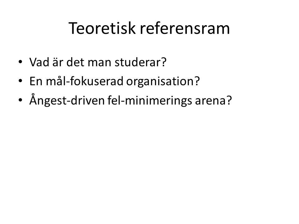 Teoretisk referensram Vad är det man studerar? En mål-fokuserad organisation? Ångest-driven fel-minimerings arena?