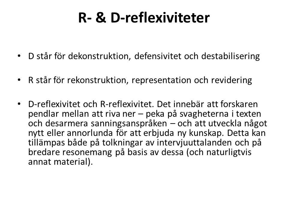 R- & D-reflexiviteter D står för dekonstruktion, defensivitet och destabilisering R står för rekonstruktion, representation och revidering D-reflexivi