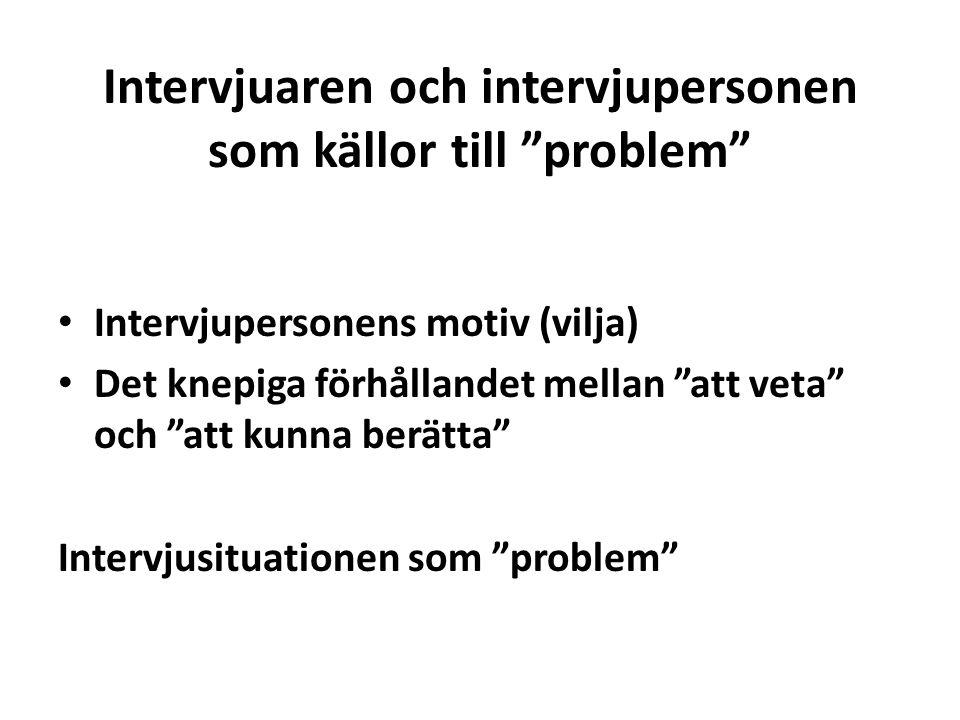 """Intervjuaren och intervjupersonen som källor till """"problem"""" Intervjupersonens motiv (vilja) Det knepiga förhållandet mellan """"att veta"""" och """"att kunna"""