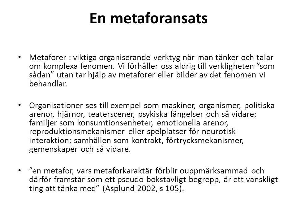 """En metaforansats Metaforer : viktiga organiserande verktyg när man tänker och talar om komplexa fenomen. Vi förhåller oss aldrig till verkligheten """"so"""