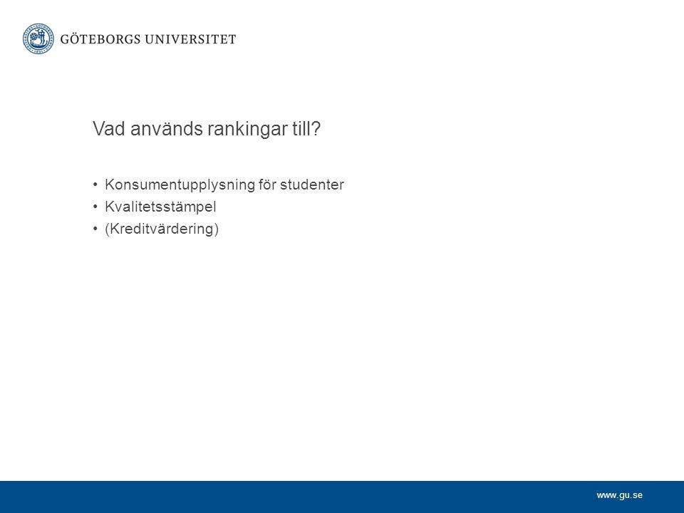 www.gu.se Vad används rankingar till.