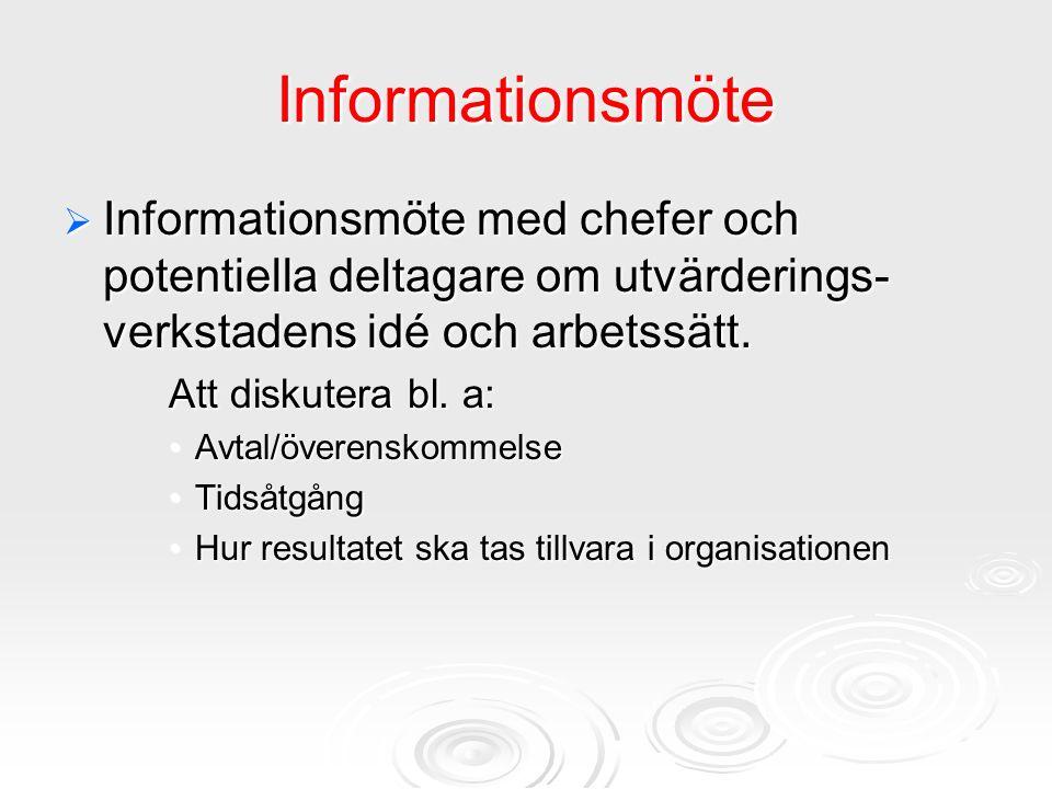 Informationsmöte  Informationsmöte med chefer och potentiella deltagare om utvärderings- verkstadens idé och arbetssätt. Att diskutera bl. a: Avtal/ö