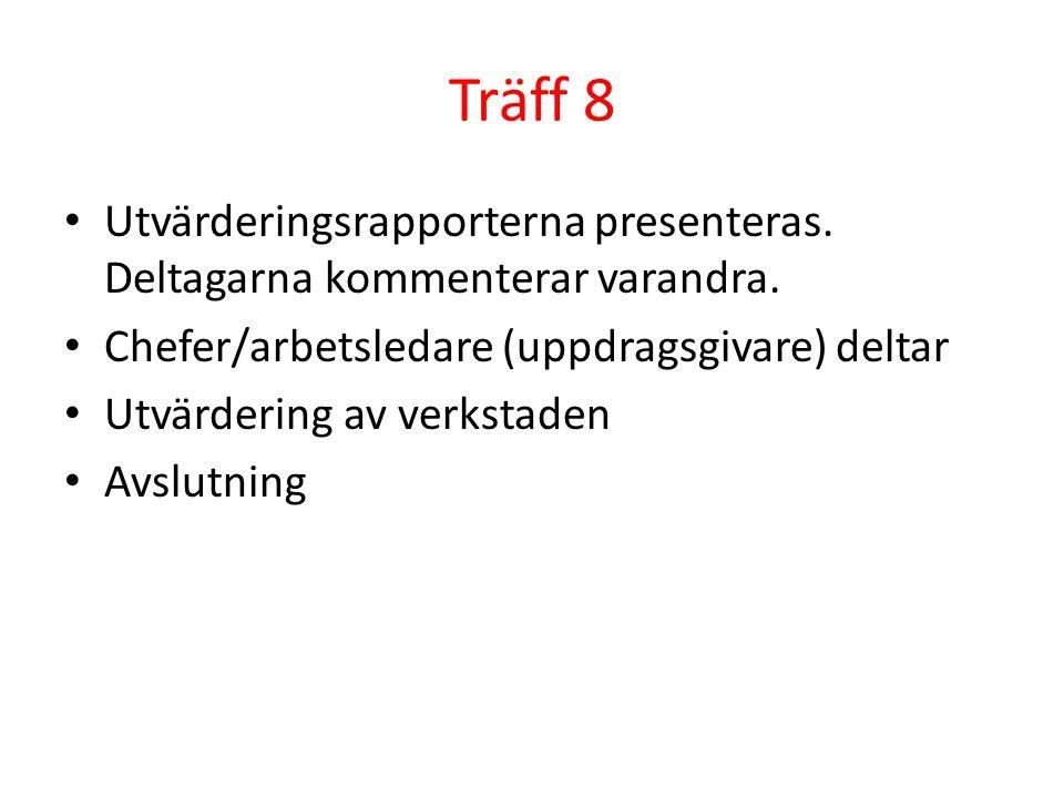 Träff 8 Utvärderingsrapporterna presenteras. Deltagarna kommenterar varandra. Chefer/arbetsledare (uppdragsgivare) deltar Utvärdering av verkstaden Av