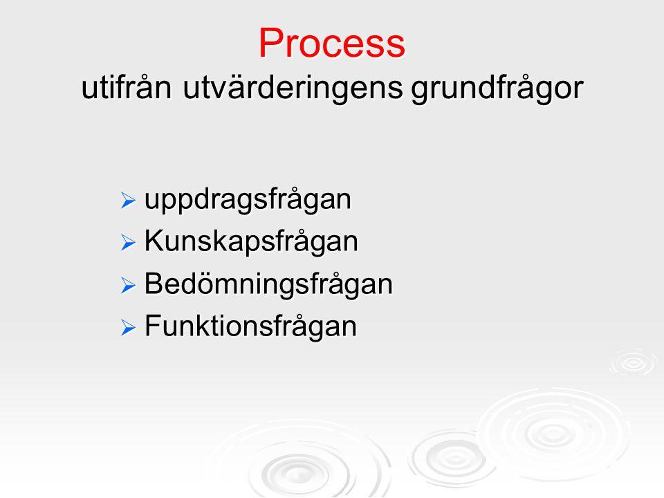 Process utifrån utvärderingens grundfrågor  uppdragsfrågan  Kunskapsfrågan  Bedömningsfrågan  Funktionsfrågan