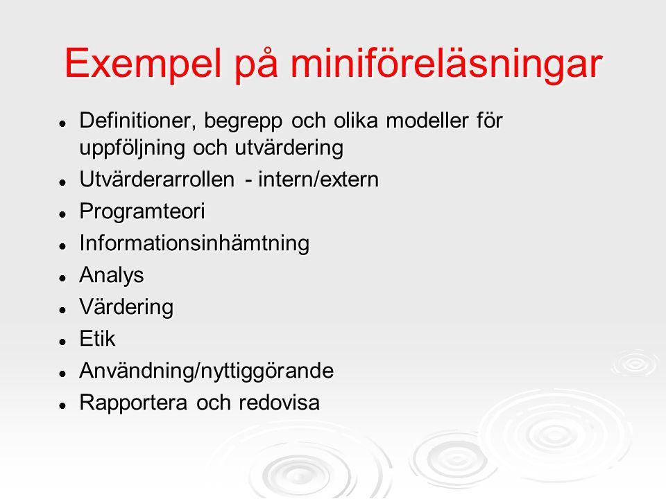 Exempel på miniföreläsningar Definitioner, begrepp och olika modeller för uppföljning och utvärdering Definitioner, begrepp och olika modeller för upp