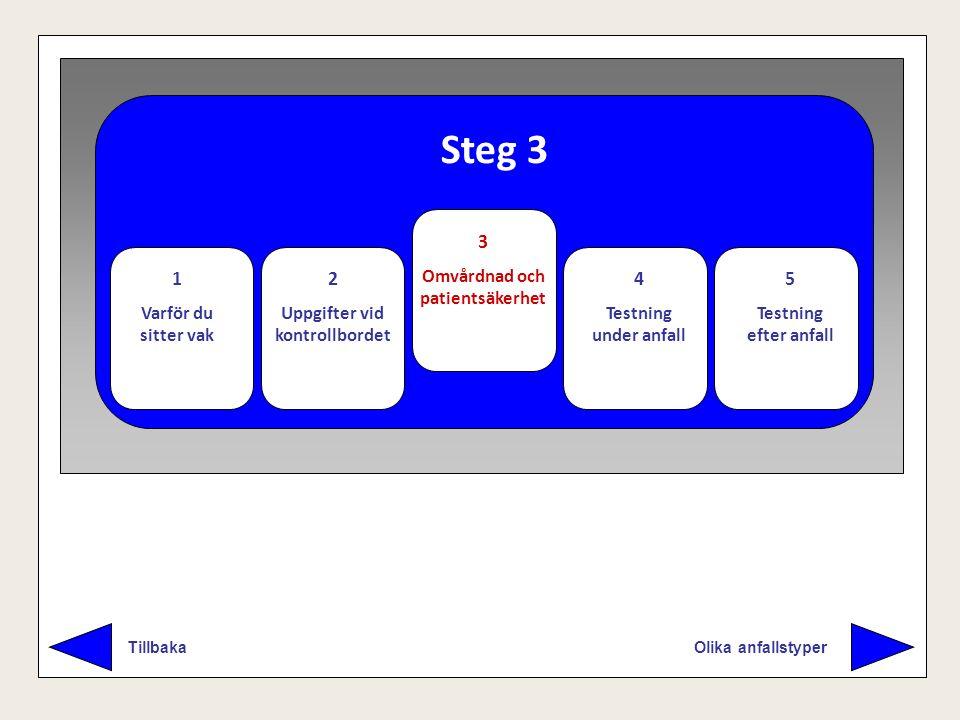 Steg 3 Olika anfallstyper Tillbaka 1 Varför du sitter vak 2 Uppgifter vid kontrollbordet 3 Omvårdnad och patientsäkerhet 4 Testning under anfall 5 Tes