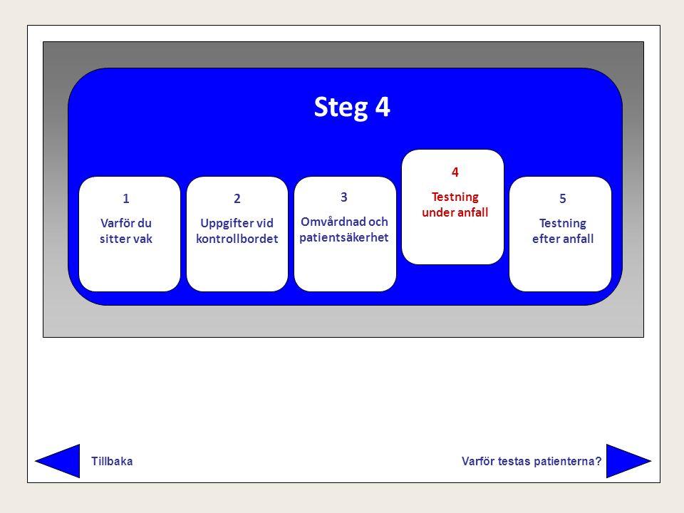 Steg 4 Varför testas patienterna? Tillbaka 1 Varför du sitter vak 2 Uppgifter vid kontrollbordet 3 Omvårdnad och patientsäkerhet 4 Testning under anfa