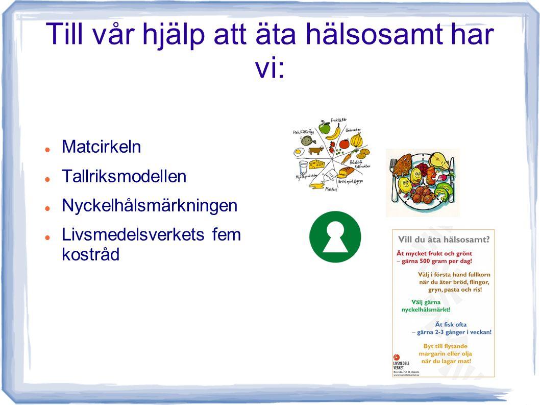 Till vår hjälp att äta hälsosamt har vi: Matcirkeln Tallriksmodellen Nyckelhålsmärkningen Livsmedelsverkets fem kostråd