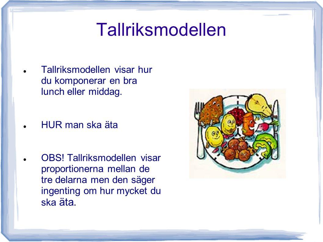 Tallriksmodellen Tallriksmodellen visar hur du komponerar en bra lunch eller middag. HUR man ska äta OBS! Tallriksmodellen visar proportionerna mellan
