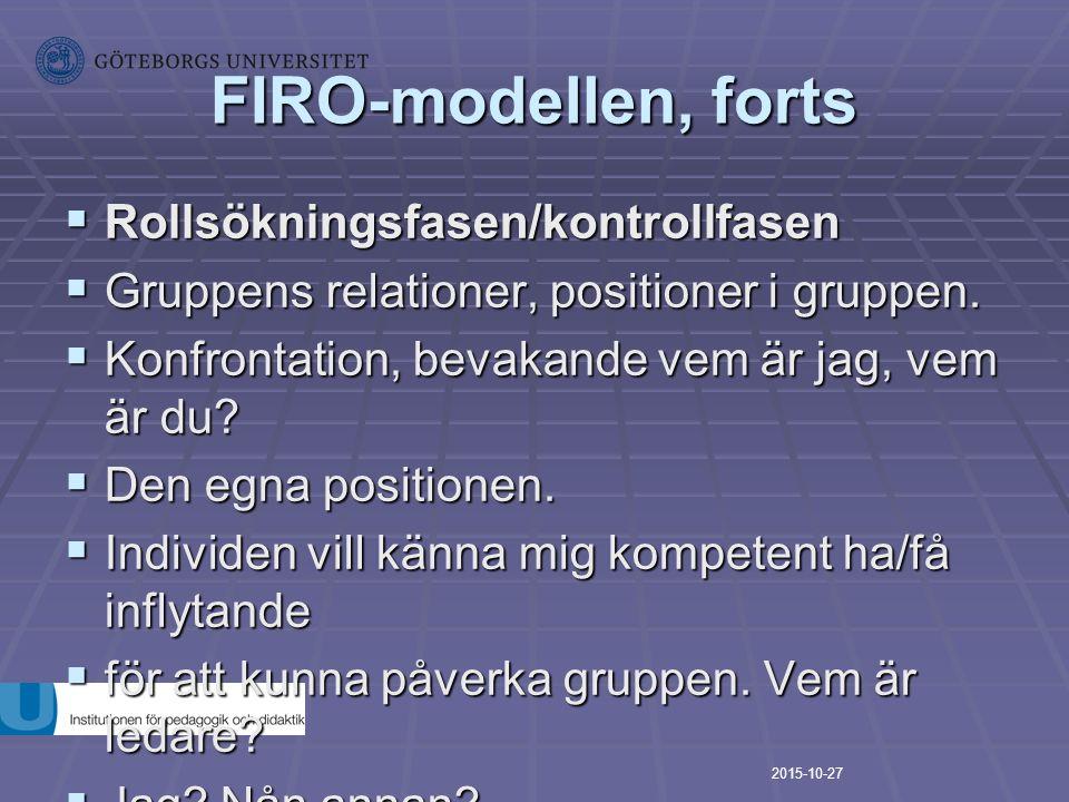 FIRO-modellen, forts  Rollsökningsfasen/kontrollfasen  Gruppens relationer, positioner i gruppen.  Konfrontation, bevakande vem är jag, vem är du?