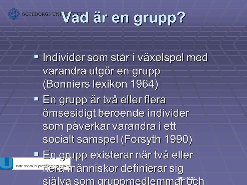 Vad är en grupp?  Individer som står i växelspel med varandra utgör en grupp (Bonniers lexikon 1964)  Individer som står i växelspel med varandra ut