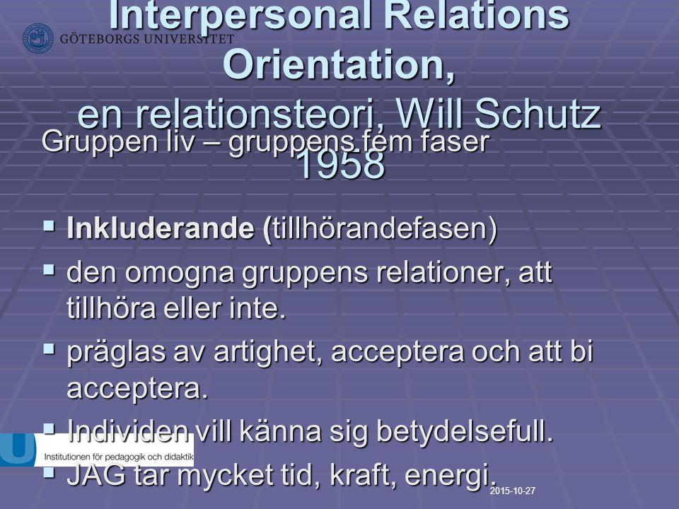 FIRO-modellen, Fundamental Interpersonal Relations Orientation, en relationsteori, Will Schutz 1958 Gruppen liv – gruppens fem faser  Inkluderande (t