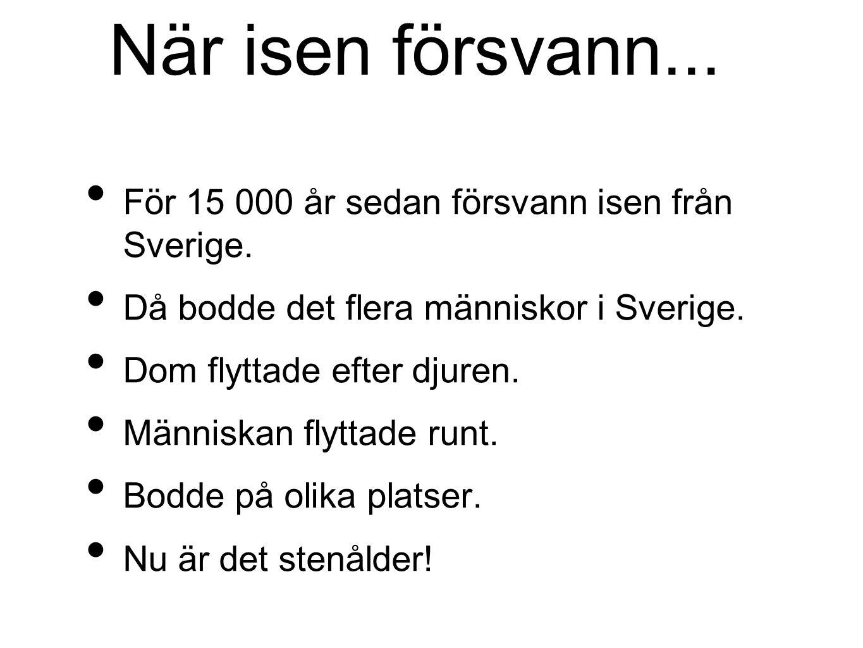 När isen försvann... För 15 000 år sedan försvann isen från Sverige. Då bodde det flera människor i Sverige. Dom flyttade efter djuren. Människan flyt