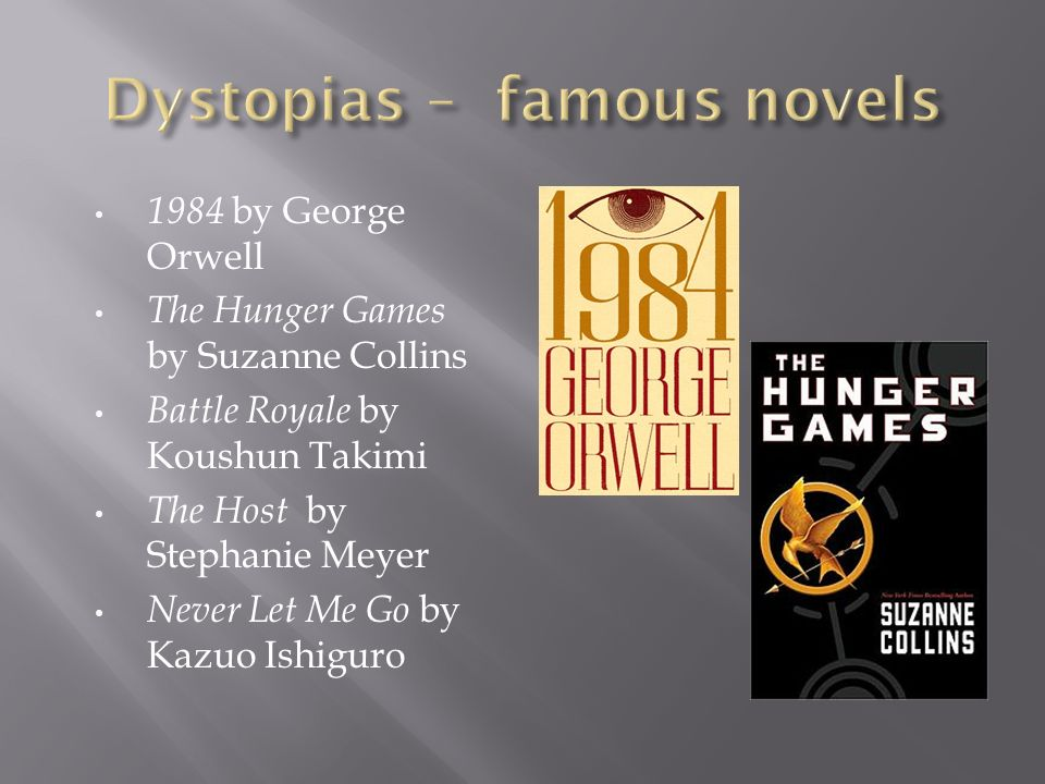 1984 by George Orwell The Hunger Games by Suzanne Collins Battle Royale by Koushun Takimi The Host by Stephanie Meyer Never Let Me Go by Kazuo Ishiguro