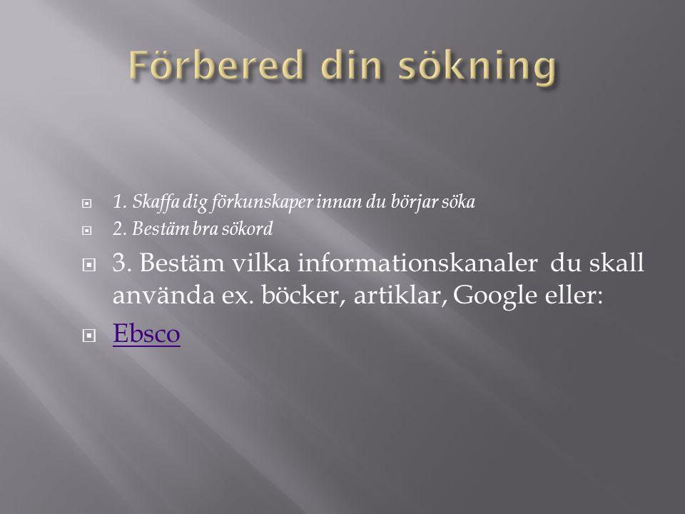  1. Skaffa dig förkunskaper innan du börjar söka  2. Bestäm bra sökord  3. Bestäm vilka informationskanaler du skall använda ex. böcker, artiklar,