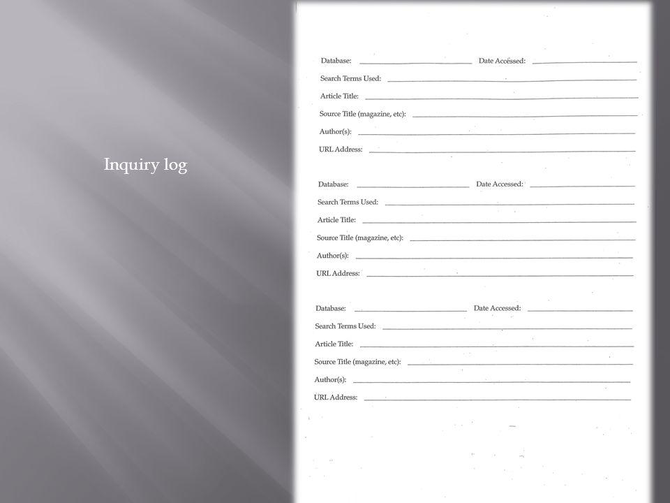 Inquiry log
