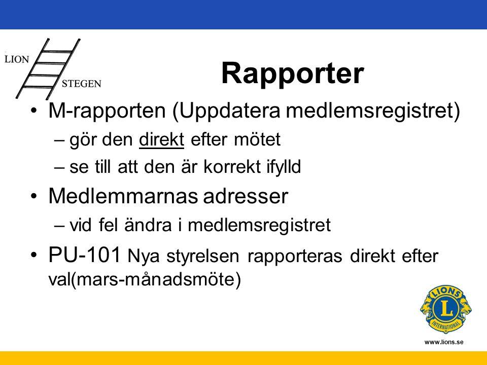 www.lions.se Rapporter M-rapporten (Uppdatera medlemsregistret) –gör den direkt efter mötet –se till att den är korrekt ifylld Medlemmarnas adresser –vid fel ändra i medlemsregistret PU-101 Nya styrelsen rapporteras direkt efter val(mars-månadsmöte)