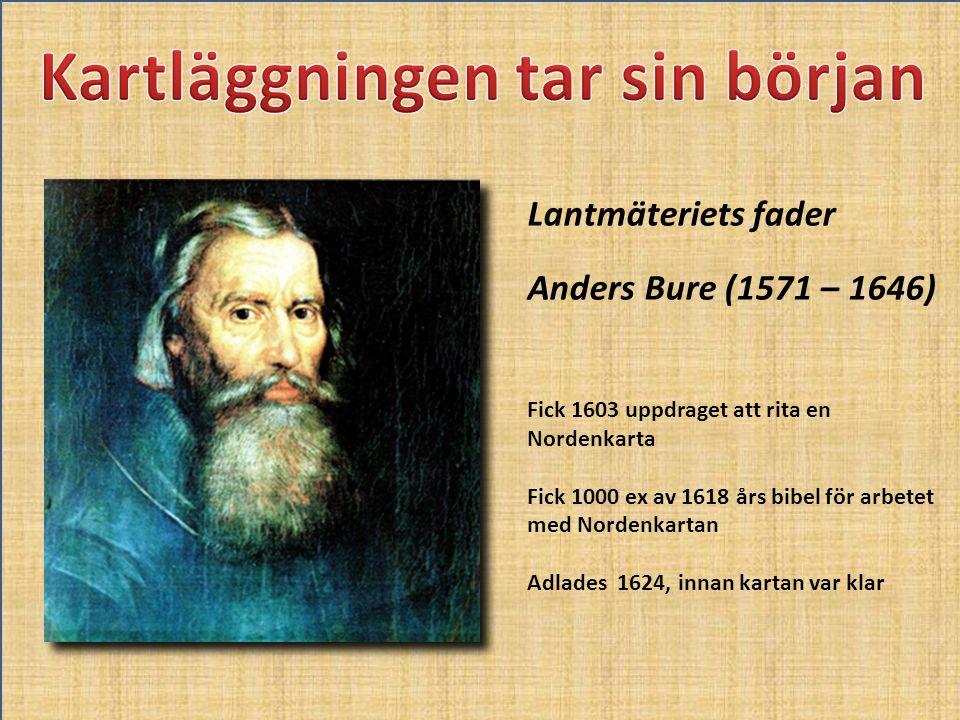 Lantmäteriets fader Anders Bure (1571 – 1646) Fick 1603 uppdraget att rita en Nordenkarta Fick 1000 ex av 1618 års bibel för arbetet med Nordenkartan