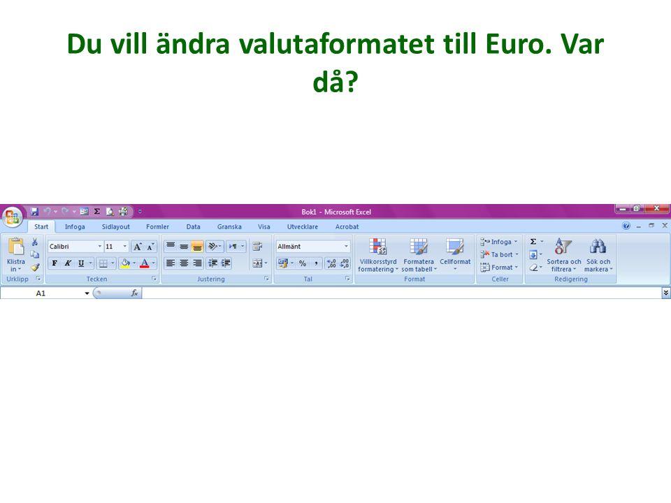 Du vill ändra valutaformatet till Euro. Var då?