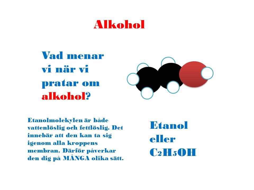 Alkohol Vad menar vi när vi pratar om alkohol? Etanol eller C 2 H 5 OH Etanolmolekylen är både vattenlöslig och fettlöslig. Det innebär att den kan ta