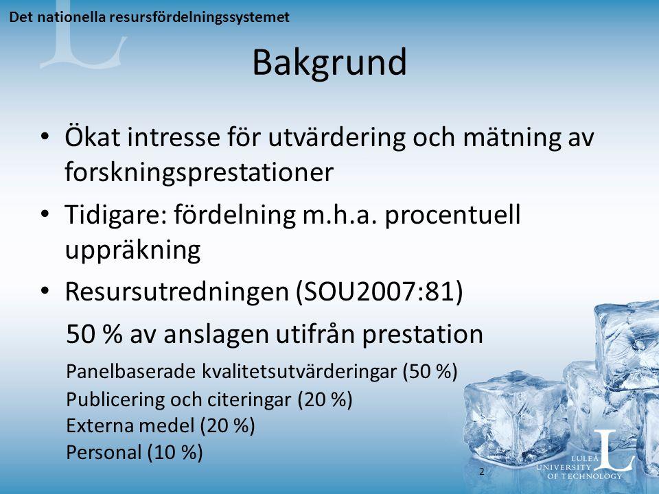 Bakgrund Ökat intresse för utvärdering och mätning av forskningsprestationer Tidigare: fördelning m.h.a.