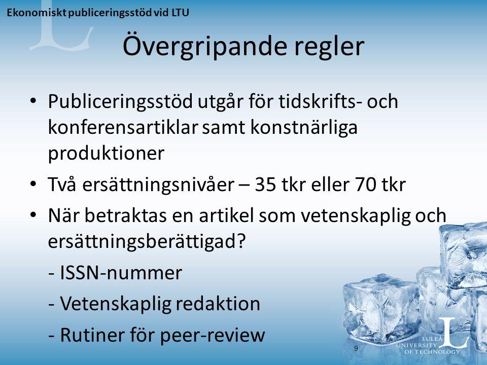 Konferensartikel – 35 tkr För att en konferensartikel ska ge 35 tkr ska den uppfylla de övergripande kriterierna, samt vara: - Författad av anställda vid LTU - Publicerad i Pure som forskning – peer- reviewed - Publicerad i en nivå 2-tidskrift eller –bokserie i den norska/danska listan, alternativt i en ISI- indexerad tidskrift eller bokserie (d.v.s.