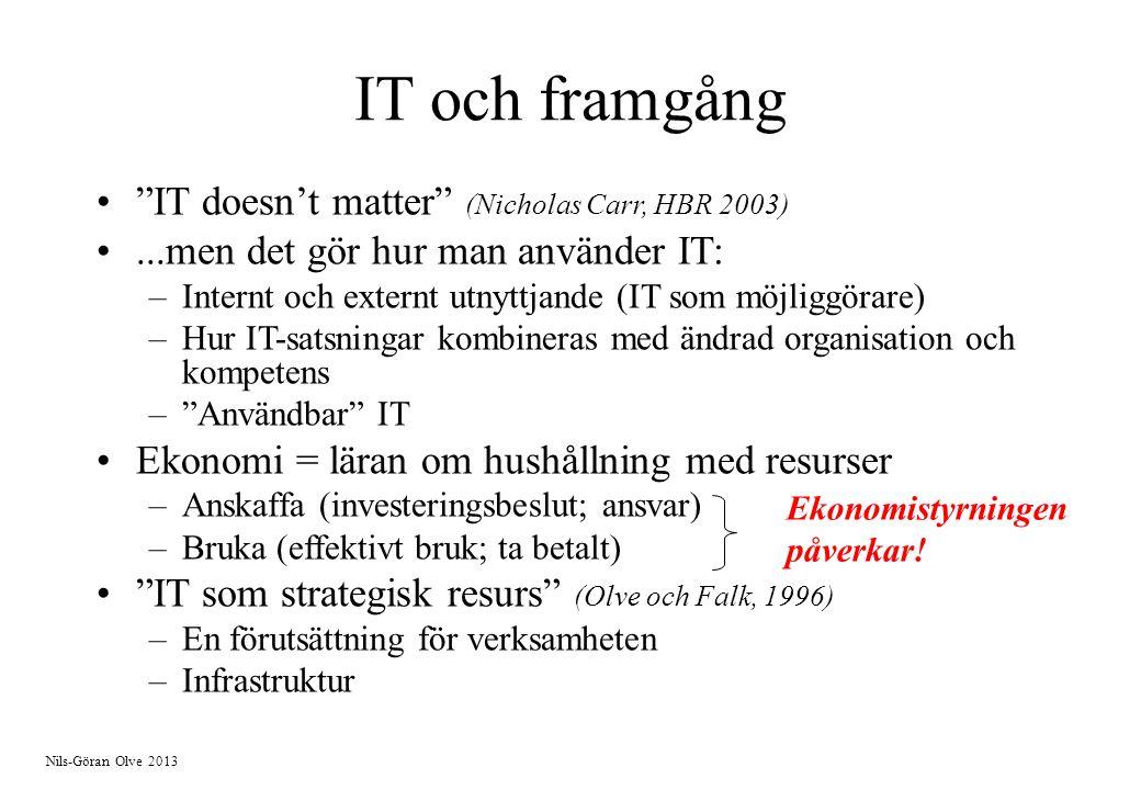 Nils-Göran Olve 2013 IT och framgång IT doesn't matter (Nicholas Carr, HBR 2003)...men det gör hur man använder IT: –Internt och externt utnyttjande (IT som möjliggörare) –Hur IT-satsningar kombineras med ändrad organisation och kompetens – Användbar IT Ekonomi = läran om hushållning med resurser –Anskaffa (investeringsbeslut; ansvar) –Bruka (effektivt bruk; ta betalt) IT som strategisk resurs (Olve och Falk, 1996) –En förutsättning för verksamheten –Infrastruktur Ekonomistyrningen påverkar!
