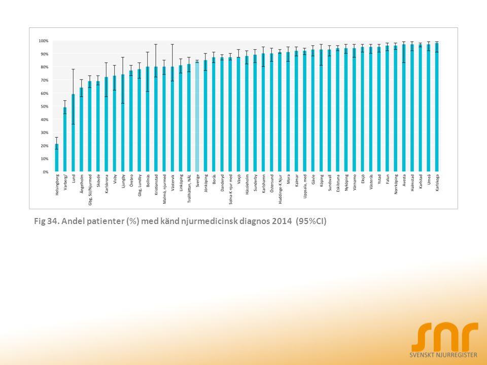 Fig 34. Andel patienter (%) med känd njurmedicinsk diagnos 2014 (95%CI)