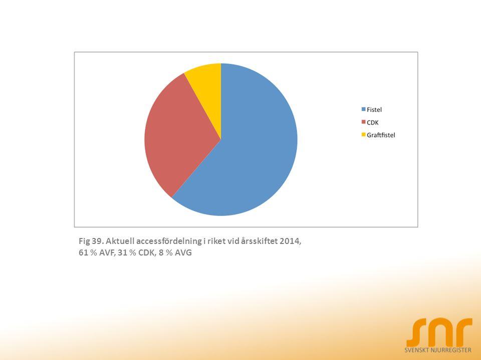 Fig 39. Aktuell accessfördelning i riket vid årsskiftet 2014, 61 % AVF, 31 % CDK, 8 % AVG