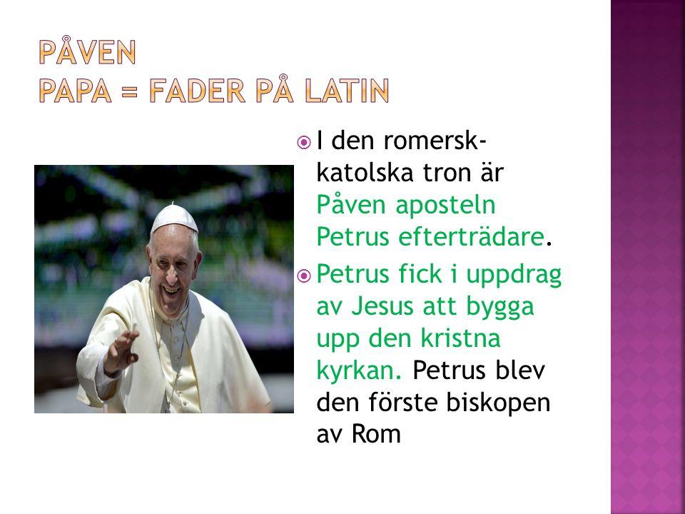  I den romersk- katolska tron är Påven aposteln Petrus efterträdare.  Petrus fick i uppdrag av Jesus att bygga upp den kristna kyrkan. Petrus blev d