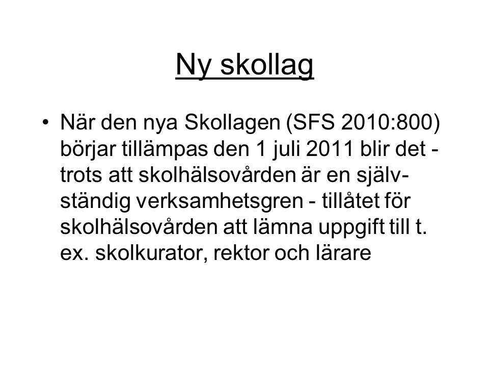 Ny skollag När den nya Skollagen (SFS 2010:800) börjar tillämpas den 1 juli 2011 blir det - trots att skolhälsovården är en själv- ständig verksamhets